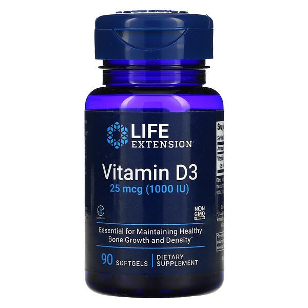 Vitamin D3, 25 mcg (1,000 IU), 90 Softgels