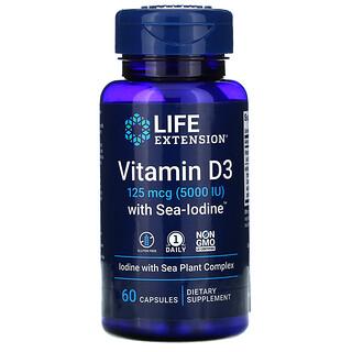 Life Extension, Vitamin D3 with Sea-Iodine, 125 mcg (5,000 IU), 60 Capsules