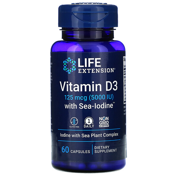 Vitamin D3 with Sea-Iodine, 125 mcg (5,000 IU), 60 Capsules