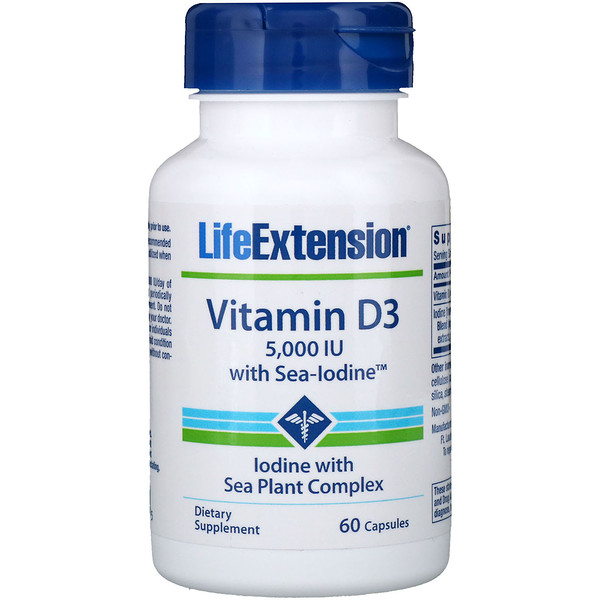 Life Extension, Vitamin D3 with Sea-Iodine, 5,000 IU, 60 Capsules