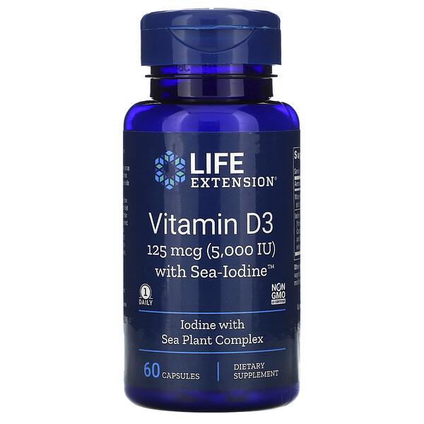 Vitamin D3 with Sea-Iodine, 125 mcg (5,000 IU), 60 Capsules