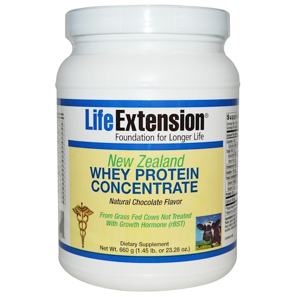 Life Extension, New Zealand Whey Protein Concentrate, Natural Chocolate Flavor, 23.28 oz (660 g)
