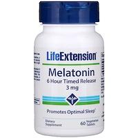 Мелатонин постепенного высвобождения – 6 часов, 3 мг, 60 растительных таблеток - фото