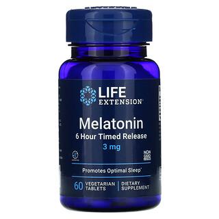 Life Extension, Melatonin, 6 Hour Timed Release, 3 mg, 60 Vegetarian Tablets