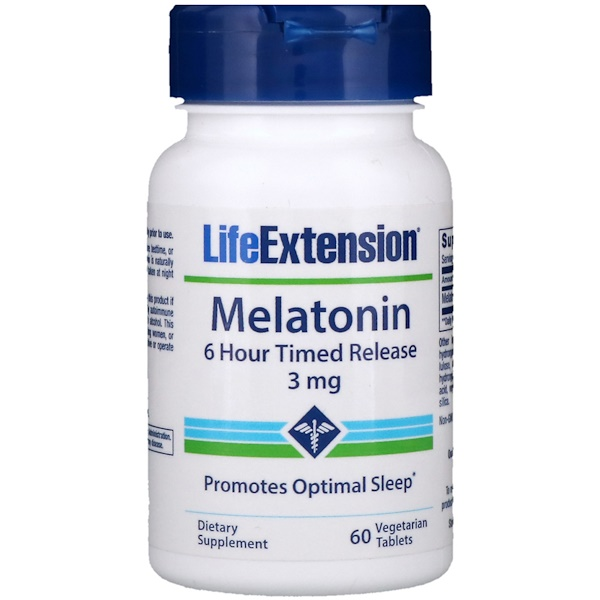 Melatonin, 6 Hour Timed Release, 3 mg, 60 Vegetarian Tablets
