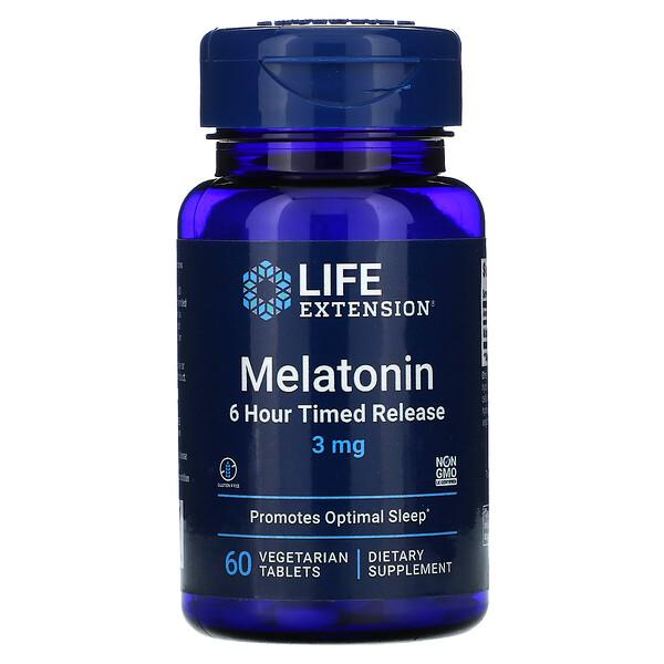 Melatonina, Liberação Programada de 6 Horas, 3 mg, 60 Comprimidos Vegetarianos