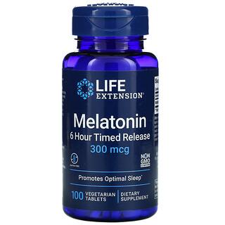 Life Extension, Melatonin, 6 Hour Timed Release, 300 mcg, 100 Vegetarian Tablets