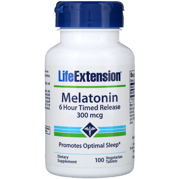 Melatonin, 6 Hour Timed Release, 300 mcg, 100 Vegetarian Tablets