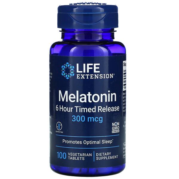 Melatonin, 6 Hour Timed Release, 300 mcg, 100 Vegetarian Tablets
