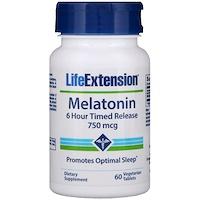 Мелатонин, 6-часовое высвобождение, 750 мкг, 60 растительных таблеток - фото