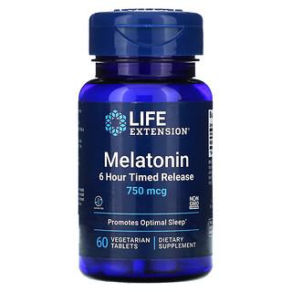 Life Extension, Melatonin, 6 Hour Timed Release, 750 mcg, 60 Vegetarian Tablets
