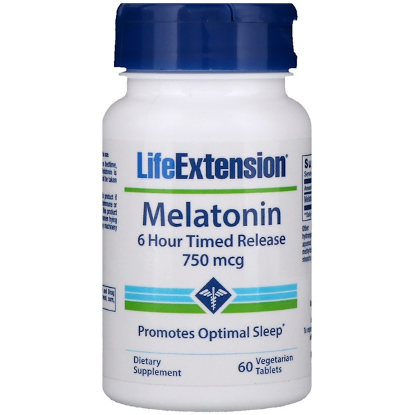 Life Extension, Melatonin, 6 Hour Timed Release, 750 mcg, 60 Veggie Tabs