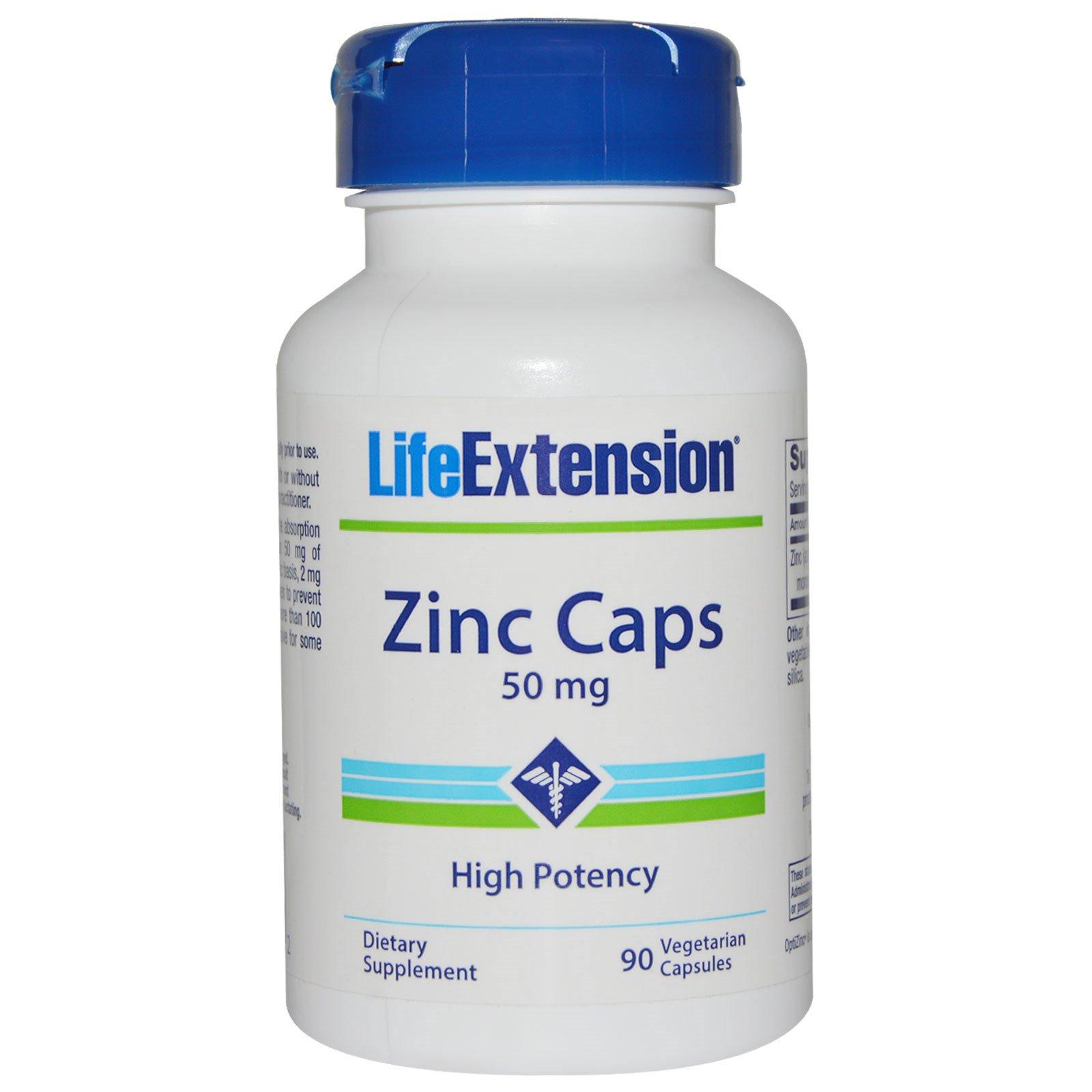 Life Extension, Цинк в капсулах, сильное действие, 50 мг, 90 вегетарианских капсул