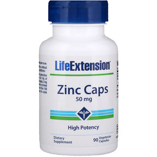 Life Extension, Zinc Caps, High Potency, 50 mg, 90 Vegetarian Capsules