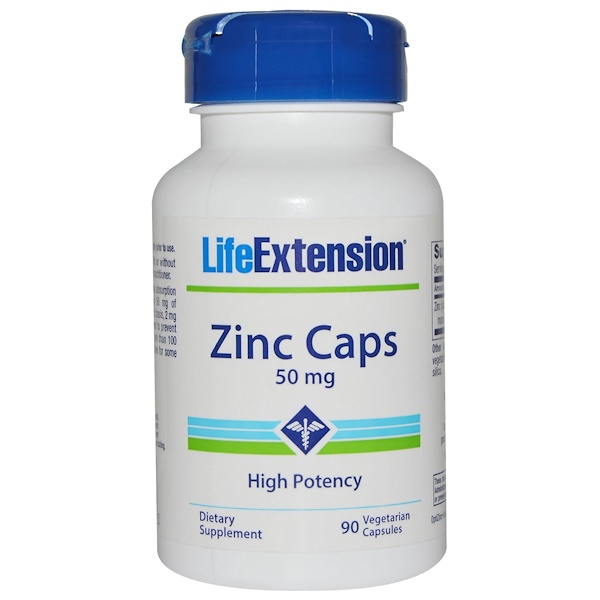Life Extension, Zinc Caps, High Potency, 50 mg, 90 Veggie Caps