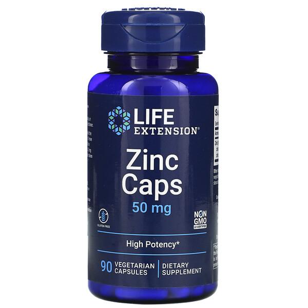 Life Extension, Zinkkapseln, hochwirksam, 50 mg, 90 Veggiekapseln