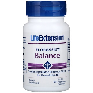 Life Extension, Auxílio à Flora, Equilíbrio, 30 Cápsulas Vegetarianas Líquidas