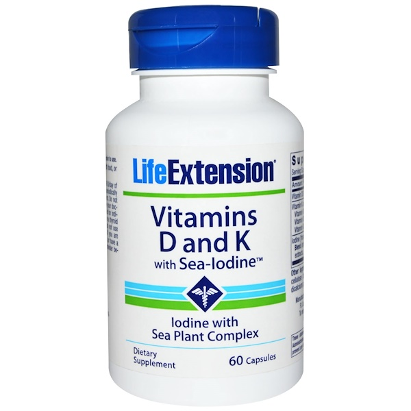 Life Extension, Vitamins D and K, with Sea-Iodine, 60 Capsules (Discontinued Item)