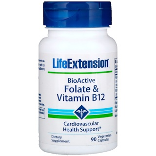 Life Extension, BioActive, Folate & Vitamin B12, 90 Veggie Caps