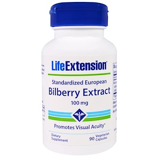 Life Extension, Standardized European Bilberry Extract, 100 mg, 90 Veggie Caps