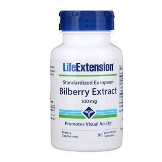 Life Extension, Standardized European Bilberry Extract, 100 mg, 90 Vegetarian Capsules