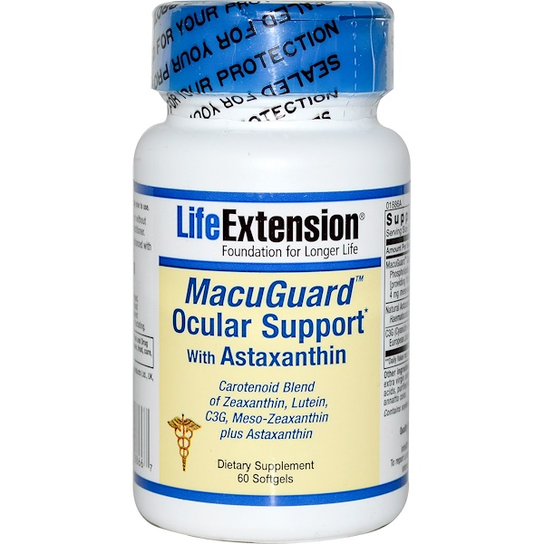 Life Extension, MacuGuard Ocular Support with Astaxanthin, 60 Softgels (Discontinued Item)