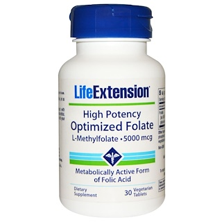 Life Extension, High Potency Optimized Folate, 5000 mcg, 30 Veggie Tabs