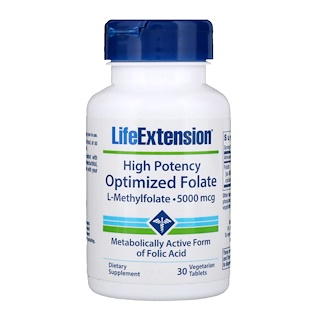 Life Extension, High Potency Optimized Folate, 5000 mcg, 30 Vegetarian Tablets