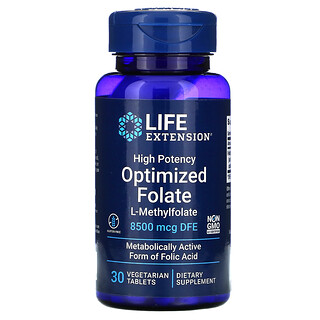 Life Extension, High Potency Optimized Folate, 8500 mcg DFE, 30 Vegetarian Tablets