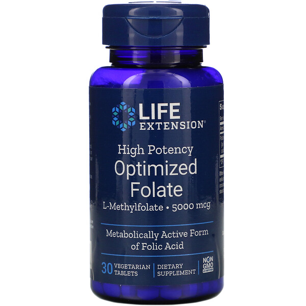 Life Extension, High Potency Optimized Folate, 5,000 mcg, 30 Vegetarian Tablets