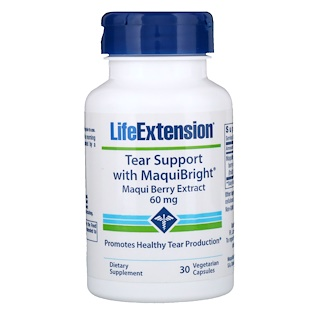Life Extension, Tear Support with MaquiBright, Maqui Berry Extract, 60 mg, 30 Vegetarian Capsules