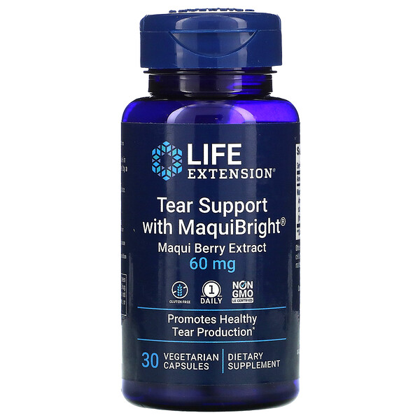 Tear Support with MaquiBright, Maqui Berry Extract, 60 mg, 30 Vegetarian Capsules