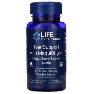Лайф Экстэншн, Tear Support with MaquiBright, Maqui Berry Extract, 60 mg, 30 Vegetarian Capsules отзывы покупателей