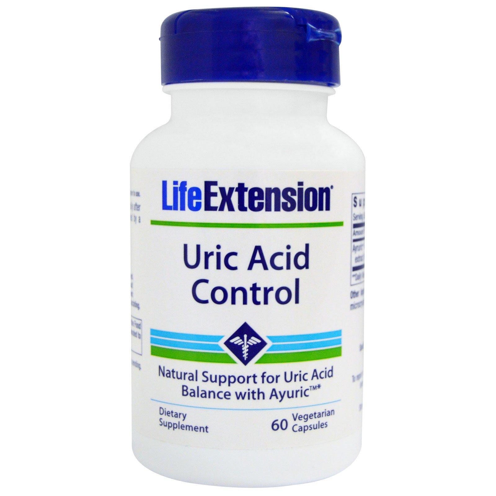 Life Extension, Средство для контроля мочевой кислоты, 60 вегетарианских капсул