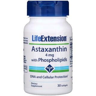 Life Extension, Astaxanthine, avec phospholipides, 4mg, 30gélules
