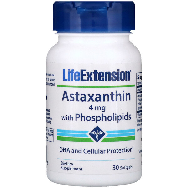 Life Extension, Astaxanthine, avec phospholipides, 4 mg, 30 gélules