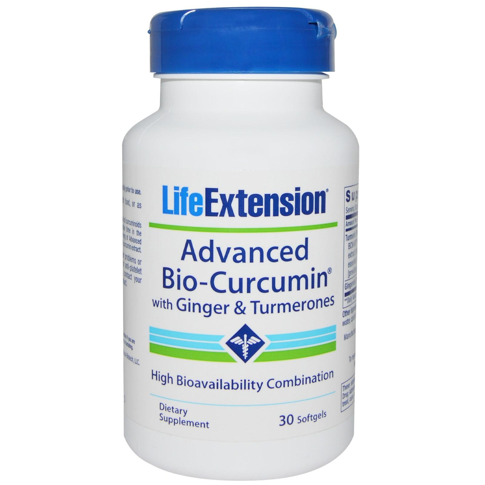 Life Extension, Обогащенный био-куркумин, с имбирем и турмеронами, 30 желатиновых капсул