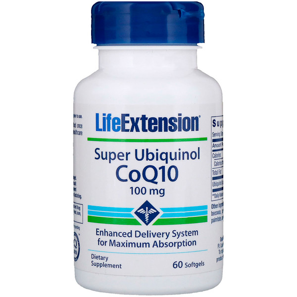 Life Extension, Super Ubiquinol CoQ10, 100 mg, 60 gélules souples