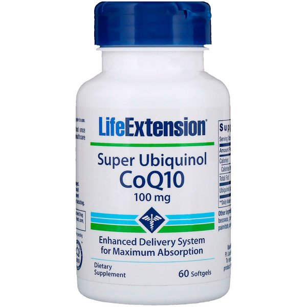 Life Extension, Super Ubiquinol CoQ10 with Enhanced Mitochondrial Support, 100 mg, 60 Softgels