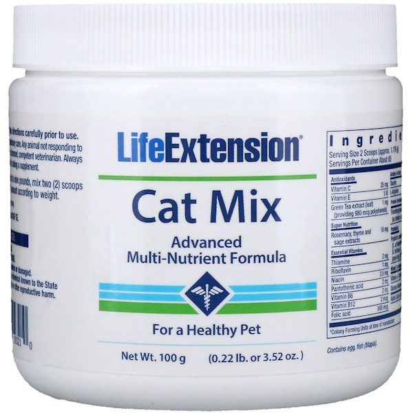 Life Extension, Cat Mix, Fórmula Avançada de Multinutrientes, 3,52 oz. (100 g.)