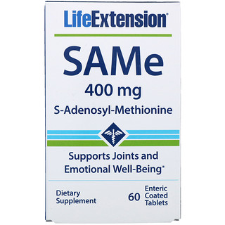 Life Extension, SAMe (S-Adenosyl-L-Methionine), 400 mg, 60 Enteric Coated Tablets
