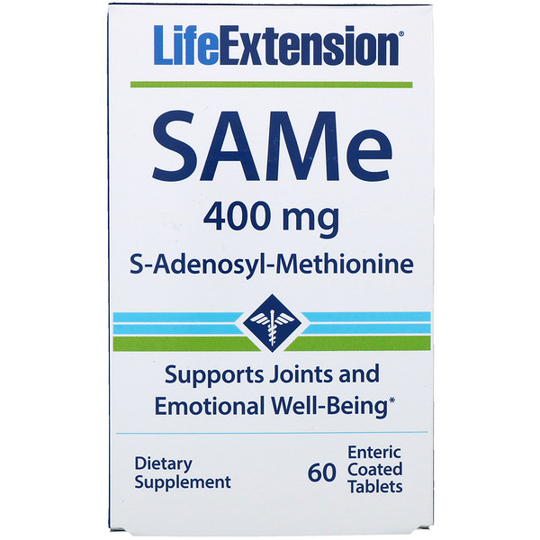 Life Extension, SAMe (S-Adenosyl-L-Methionine), 400 mg, 60 Enteric Coated Tablets (Discontinued Item)