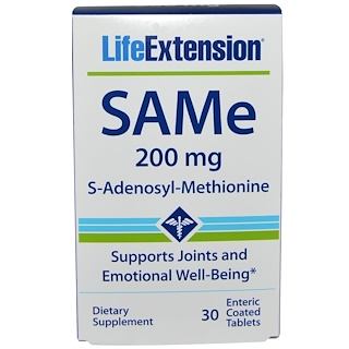 Life Extension, SAMe (S-Adenosyl-L-Methionine), 200 mg, 30 Enteric Coated Tablets