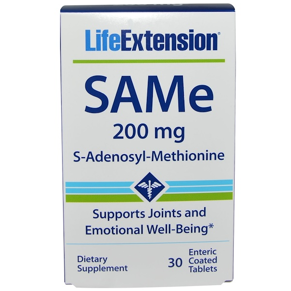 Life Extension, SAMe, 200 mg, 30 Enteric Coated Tablets (Discontinued Item)