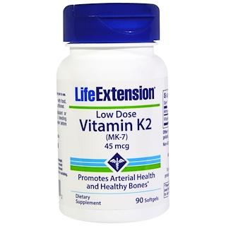 Life Extension, 低用量ビタミン K2 (MK-7)、 45 mcg、 90ソフトジェル