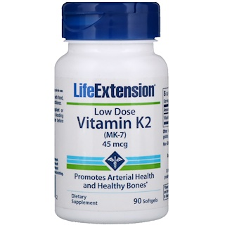 Life Extension, Low Dose Vitamin K2 (MK-7), 45 mcg, 90 Softgels