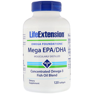 Life Extension, Omega Foundations, ,Mega EPA/DHA, 120 Softgels