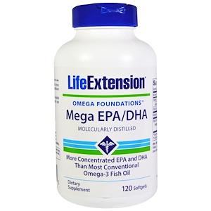 Life Extension, Омега Foundations, Mega EPA/DHA, 120 капсул инструкция, применение, состав, противопоказания
