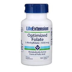 Life Extension, حمض الفوليك المحسن، 100 ميكوغرام، 100 كبسولة نباتية