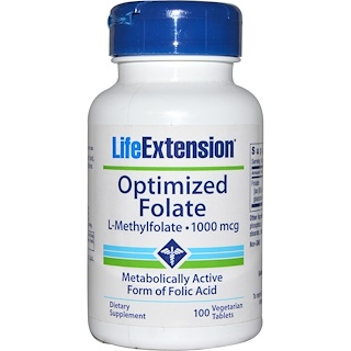 Life Extension, Optimized Folate, 1000 mcg, 100 Veggie Tabs